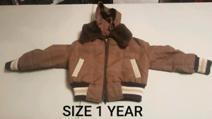 BROWN NYLON COAT WITH PLUSH/SOFT LINING