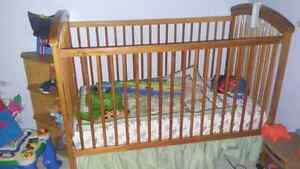 Solid wooden crib and mattress