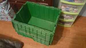 Storage containers .  Green bins.  Recycle  parts