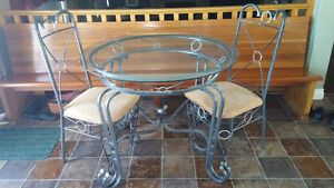 Glass Top Table with  2 Chairs