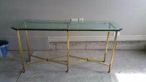 Rectangular Table With Gold Legs & Glass Top