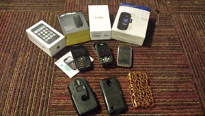 Old or broken cell and smart phone lot.