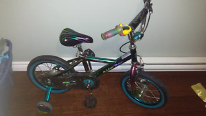 Girls 14inch bike with training wheels