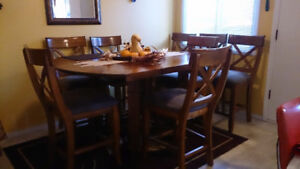 Solid Wood Dining Table and 8 Chairs - Pub Height