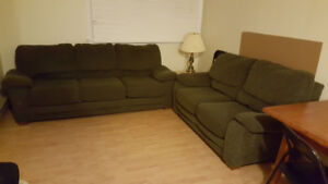 Green Couch and Love Seat Set