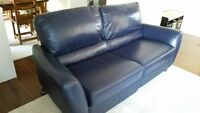 Natuzzi blue leather reclining couch & chair and a half