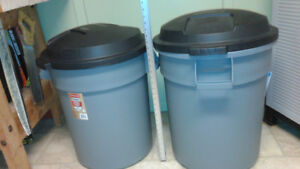 Two 77 litre Rubbermaid GARBAGE CANS