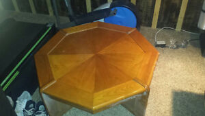 Solid octagon coffee table and two end tables