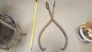 Large Antique cast iron tongs