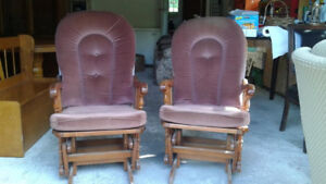 Pair of solid wood gliders