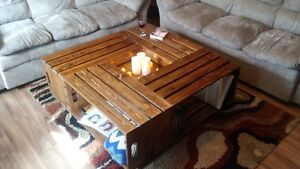 Hand Crafted Crate Coffee Table and End Table Seet
