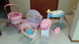 doll playcenter, doll, stroller, and bassinet