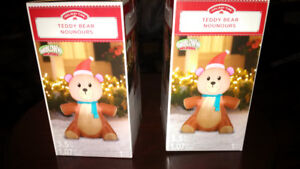 Holiday Time Christmas Ornaments - Outdoor Airblown Teddy Bear