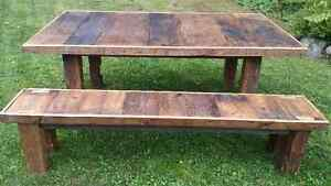 Harvest table and matching bench from reclaimed barn materials