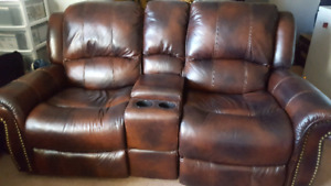 2 piece real Leather Couch set