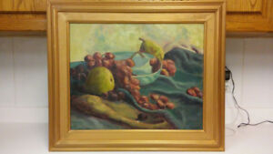 Antique signed original still life oil painting on canvas