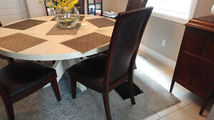 Solid wood/ leather chairs