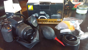Nikon D3300 camera with 18-55mm lens 64g sd card and accessories