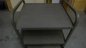 Heavy duty 2-tier metal cart with castors
