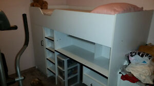 Combination bed, closet, desk and drawers