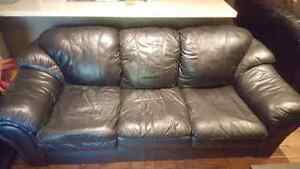 Selling 2 Black Leather Couches 50EA OBO Peterborough Peterborough Area image 1