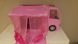 Large barbie lot, accessories and camper