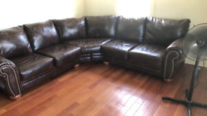 Sofa cuir véritable brun