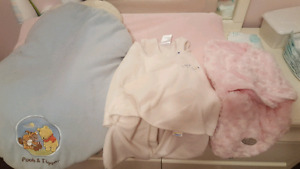 Baby girl clothes, car seat cover, vibrating chairand sleep sacs