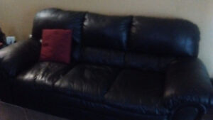 2 Piece Black Leather Couch