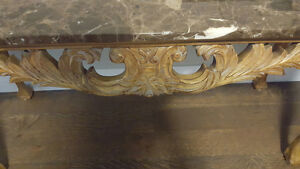 French Provincial Hand Carved Console Table/Server w Marble Top Kitchener / Waterloo Kitchener Area image 3