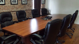 14 Ft Boardroom Table and 12 Leather Chairs