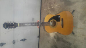 Epiphone acoustic guitar with case and stand