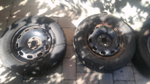 """15"""" steelies with toyo tires. Rims and winter rubber 5x100"""