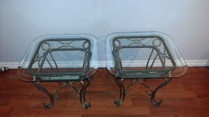 Three glass top tables