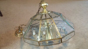 8 Light Chandelier / Glass Shade With Carved Metal