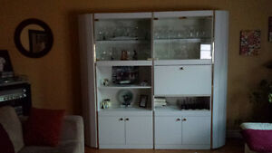 white melamine wall unit