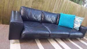 Black Three Seater Lounge Couch Sofa Genuine Leather Lowline Coogee Eastern Suburbs Preview