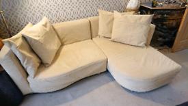 Creme swede sofa