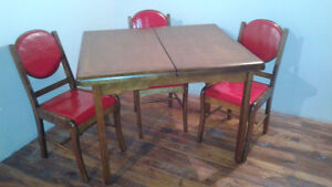 Walnut Early 1940's Table and 3 Chairs