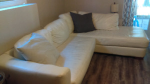 White bonded leather sectional for sale
