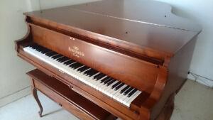 Heintzman Queen Anne style burled walnut grand piano