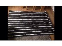 Large black white stripe rug