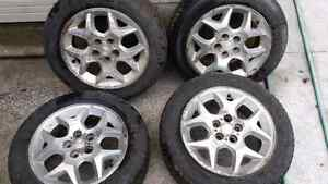 185/60R15 SET OF TIRES WITH ALUMINUM RIMS
