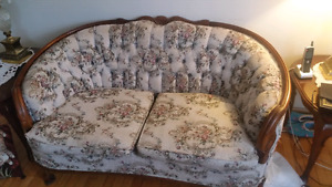 Antique love seat,  chair and end tables