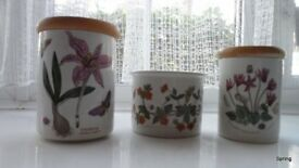 Portmeirion Botanical - two storage jars and pant pot holder never used so pristine