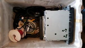 Box of speakers amd deck.
