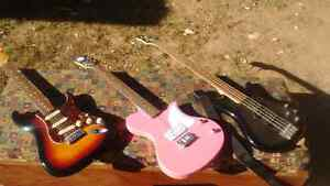 Electric bass and 2 electric guitars and amp for sale