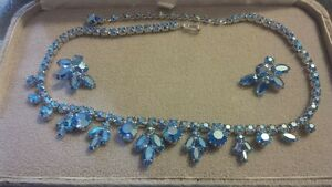 "Sherman ""blue"" necklace and earring set. signed."