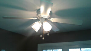 white indoor ceiling light and fan combo