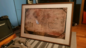 Middle earth map poster in frame